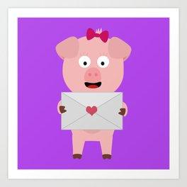 Female Pig with Loveletter Art Print