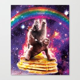 Space Cat Llama Sloth Riding Pancakes Canvas Print