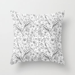 Mermaid Toile - Black and white Throw Pillow