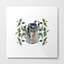 Watercolour painted metallic watering can and lemon balm twigs and leaves, isolated on white.  Metal Print
