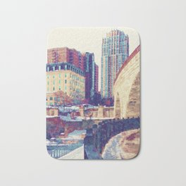 Minneapolis, Minnesota Skyline Stone Arch Bridge Bath Mat