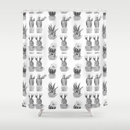 Potted Cactus Black and White Shower Curtain