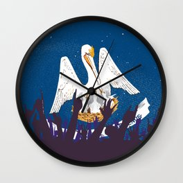 Louisiana State Flag with Audience Wall Clock