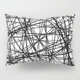 Geometric Collision - Abstract black and white Pillow Sham