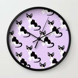 Cornish Rex Kitten Purple Wall Clock