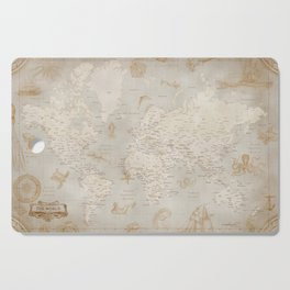 Vintage looking current world map with sea monsters and sail ships Cutting Board