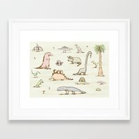 dinosaurs Framed Art Prints featuring Dinosaurs by Sophie Corrigan