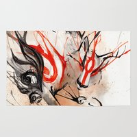 okami Area & Throw Rugs featuring Okami Amaterasu Ink by Rubis Firenos