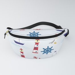 Nautical Pattern (Marine Pattern) - Blue Red White Fanny Pack
