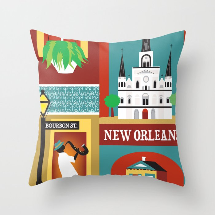 New Orleans Louisiana Collage Ilration By Loose Petals Throw Pillow
