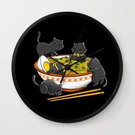 Kawaii Anime Cat Japanese Ramen Noodles Wall Clock