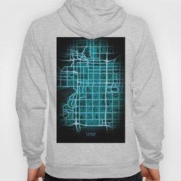 Tempe, AZ, USA, Blue, White, Neon, Glow, City, Map Hoody