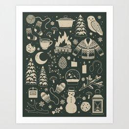 Winter Nights: Forest Art Print