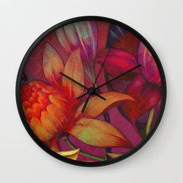 """""""Retro Giant Floral Pattern"""" Wall Clock"""