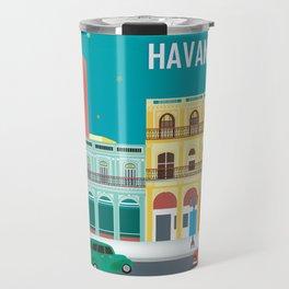 Havana, Cuba - Skyline Illustration by Loose Petals Travel Mug
