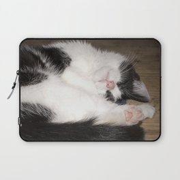 Cute Sleeping black and white cat Laptop Sleeve