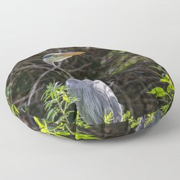 Gray heron on the edge of a pond Floor Pillow