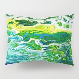 Blue waves and green grass Pillow Sham