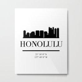 HONOLULU HAWAII BLACK SILHOUETTE SKYLINE ART Metal Print