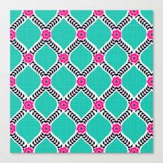 Turquoise and Pink Floral Ogee Pattern Canvas Print