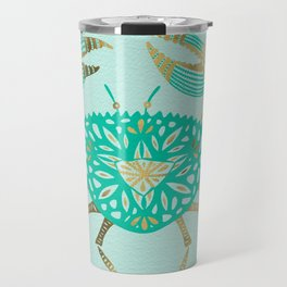 Crab – Turquoise & Gold Travel Mug