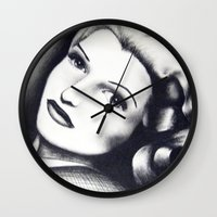 wasted rita Wall Clocks featuring Rita by JezRebelle
