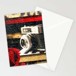 Vintage Camera Piano Leopard & Red Rose Stationery Cards
