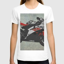 Miracle do not come in tubes,  motorcycle abstract collage, gift for man T-shirt