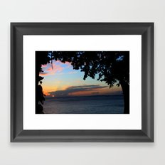 SUNSET BETWEEN TREES. Framed Art Print
