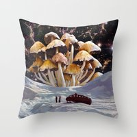 psychadelic Throw Pillows featuring Alice in Wonderland by Blaž Rojs