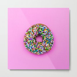 Hyperreal Sprinkled Donut on Pink Metal Print