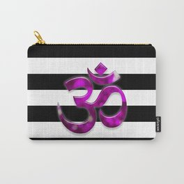 Black & White Stripes Crown Chakra Symbol Carry-All Pouch