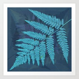 From the forest - light blue on lavender Art Print