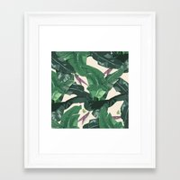 banana leaf Framed Art Prints featuring Banana Leaf Pattern by Tamsin Lucie
