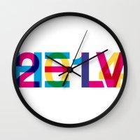 helvetica Wall Clocks featuring helvetica 2014 by Type & Junk