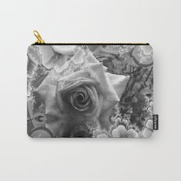 Black and White Rose with Reflections Carry-All Pouch