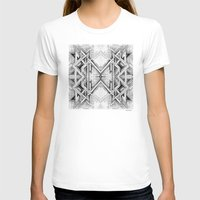 gray pattern T-shirts featuring Emerge - Gray/Black Pattern by MB4 Studio / Melissa Breitenfeldt
