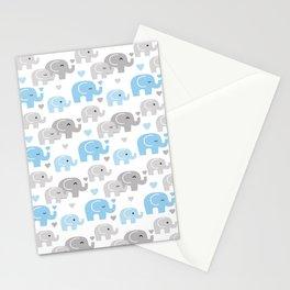 Blue Gray Elephant Baby Boy Nursery Stationery Cards