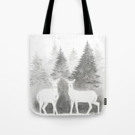 Albino Deer and Pine Forest with Stars Tote Bag
