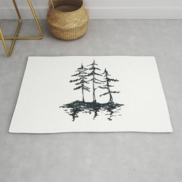 THE THREE SISTERS Black and White Rug
