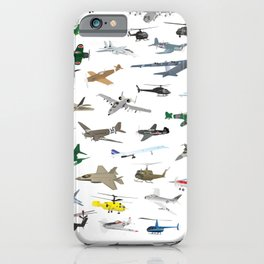 Various Colorful Airplanes and Helicopters iPhone Case