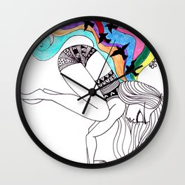 fly away in crow pose Wall Clock