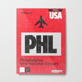 PHL RED airport code Metal Print