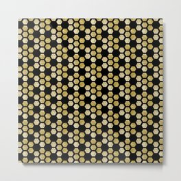 Hexagon Pattern Black & Gold Metal Print