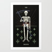 tarot Art Prints featuring Tarot: Death by Merlin
