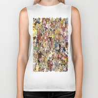 cartoon Biker Tanks featuring Cartoon Collage by Myles Hunt