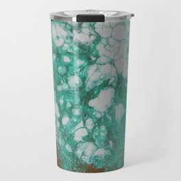 Aquamarine Dream, abstract acrylic fluid painting Travel Mug