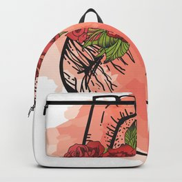 Human Heart with roses wreath Backpack