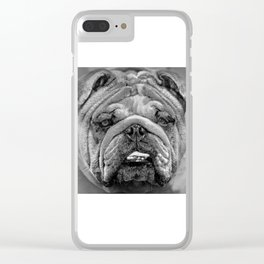 Bulldog Black and White Clear iPhone Case