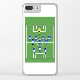 Football Soccer sports team in blue Clear iPhone Case